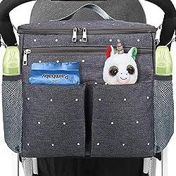 Conleke Kinderwagen Organizer, Universale Kinderwagentasche Buggy Organizer Hänge Tasche mit1 Schulterriemen, Unverzichtbares Kinderwagen-Zubehör(Grau)