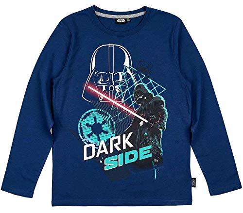 Star Wars Langarmshirt Jungen Shirt Darth Vader (Blau, 140)