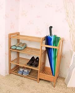 Étagère à chaussures en bambou avec parapluie, étagère de rangement chaussures Organisateur affichage Racks étagères, FSR04-N