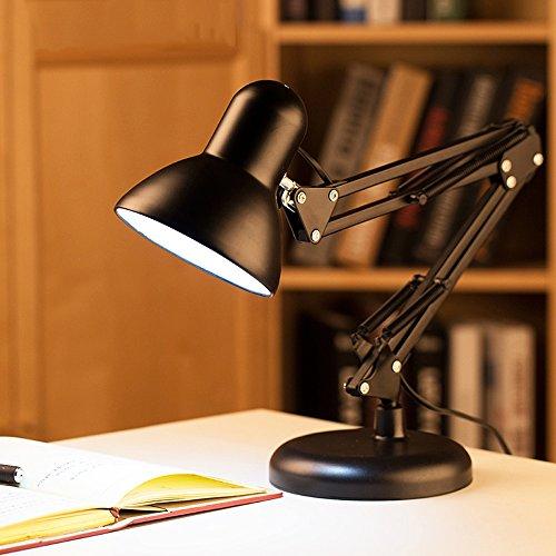 Lampe de table Lampe De Bureau Flexible Bras Oscillant Américain Étudiant Étude Travail Dortoir Bureau Chambre Lampe De Bureau Bras Pliant Lampe De Bureau Noir