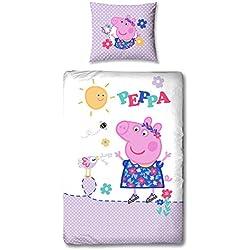Ropa de cama (linón Peppa Pig Pig–Pato en 135x 200cm + 80x 80cm–Nuevo & embalaje original–100% algodón–Deutsche tamaño