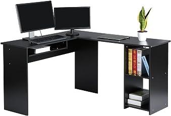 LANGRIA Computertisch Eckschreibtisch Bürotisch Arbeitstisch L Form 140 X  120x 75cm Schwarz