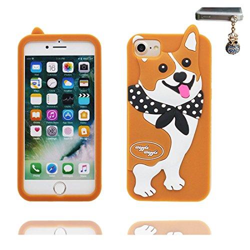 """iPhone 6 Coque, iPhone 6S Étui Cover Housse pour iPhone 6 6s 4.7"""" [Cartoon 3D Caniche Poodle Dog] Gel TPU Shell iPhone 6 Case (4.7"""") Résistant à la poussière Scratch et Bouchon anti-poussière marron"""