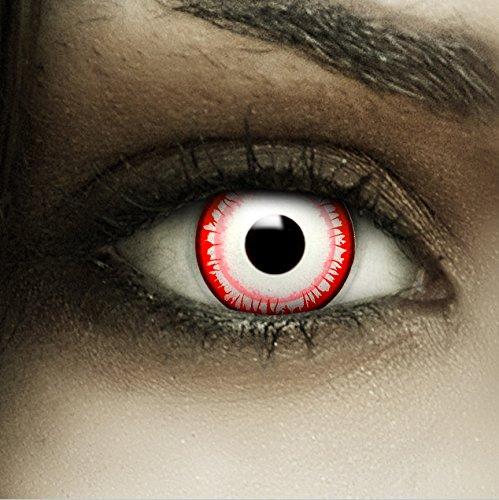 Farbige rot weiße Kontaktlinsen Killer Clown + Kunstblut Kapseln + Behälter von FXCONTACTS®, weich, ohne Stärke als 2er Pack - perfekt zu Halloween, Karneval, Fasching oder Fasnacht