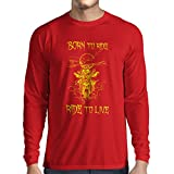 N4690L T-Shirt mit Langen Ärmeln Born to Ride! Motorcycle Clothing (Small Rot Mehrfarben)