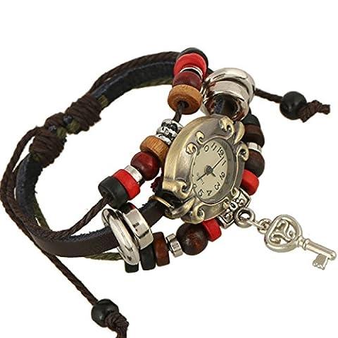 LZHM Neue Art Und Weise Multi Strands Justierbare Armbänder Für Damen Personalisierte Stammes- Geflochtenen Seil Stulpe-Armband Wulstiger Uhr