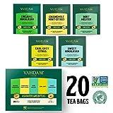 VAHDAM, Grünteesortiment | 5 Tees, 4 Pyramid Tea Bags Jeder | Bio Himalaya, Minze Melodie, Kamille Minze Citrus, Earl Grey & Sweet Himalaya Grüner Tee | Brew Hot oder Iced | 20 Teebeutel