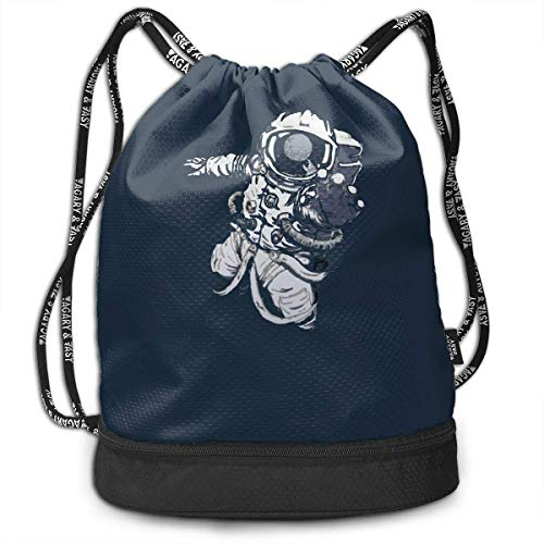 ewtretr Turnbeutel Hipster Sporttaschen Astronaut In Space Multifunctional Bundle Backpack Shoulder Bag for Men and Women (Blume Floß)