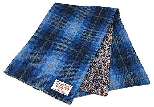 Harris Tweed Schal mit einem Paisley Liberty Baumwollfutter (Blau)