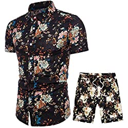 Ensemble Homme Hawaïenne Grenouillères T-Shirt Manches Courtes Imprimé Jogging Shorts Pantalon Court Deux Pièce Survêtements