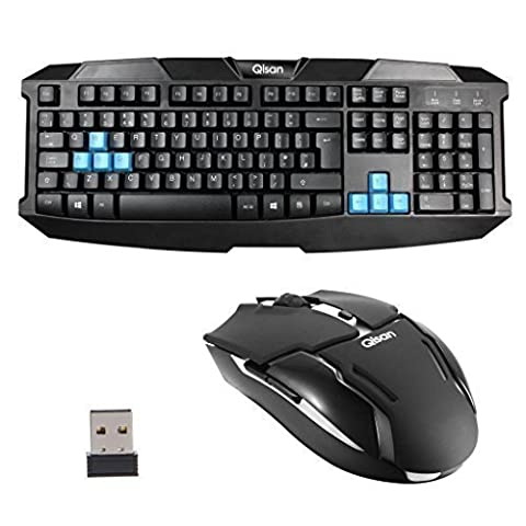Qisan® Wireless Mouse et clavier Combo Set Black clavier complet de Taille (UK disposition du clavier)sans fil avec souris 1600dpi QIN 004 Venez avec 2.0 OTG câble de données GRATUIT Android Micro USB