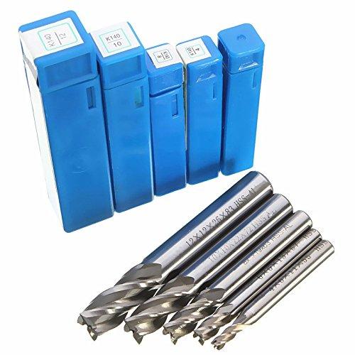 5 Stück Schaftfräser Schaftfräser 4 Flöte HSS CNC End Mill Bohrfräswerkzeug 4/6/8/10/12 mm