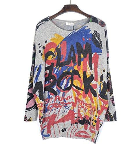 Smile YKK Femme Pull Bat Tricot Veste T-shirt Manches Longue Imprimé Motif de Graffiti Gris