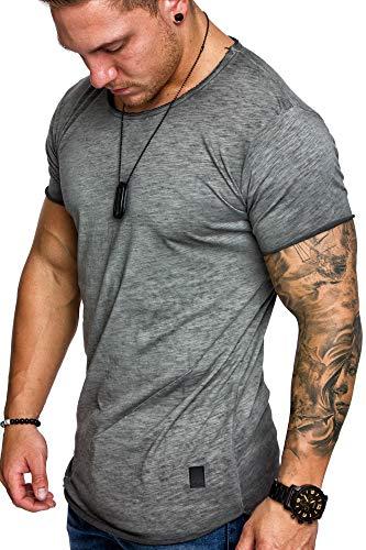 Amaci&Sons Oversize Herren Vintage T-Shirt Verwaschen Crew Neck Rundhals Basic Shirt 6033 Anthrazit XL