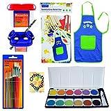 Set Schule Füllung Schultüte Farbkasten Pinsel Wasserbox Bastelschürze/Werkschürze blau