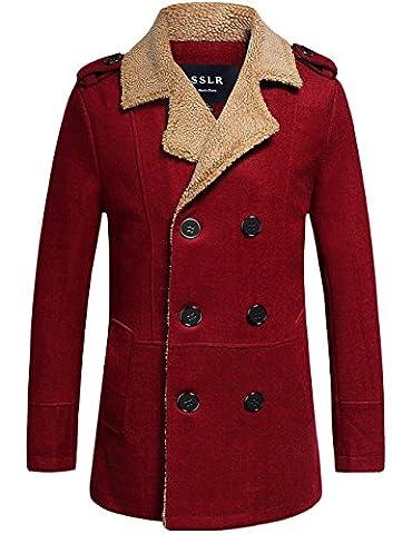 SSLR Men's Regular Double Breasted Wool Jacket Coat (Medium, Wine Red)