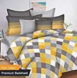 #2: Ahmedabad Cotton 144 TC Cotton King Bedsheet with 2 Pillow Covers - Yellow, Grey