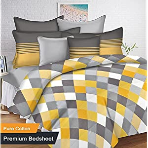 Ahmedabad Cotton 144 TC Cotton Single Bedsheet with 1 Pillow Cover – Yellow and Grey (60 inch x 90 inch)