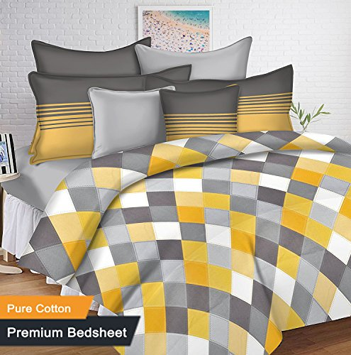 Ahmedabad Cotton 144 TC Cotton Bedsheet with 2 Pillow Covers – Yellow, Grey