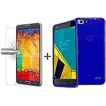 TBOC® Pack: Funda de Gel TPU Azul + Protector Pantalla Vidrio Templado para Vodafone Smart Ultra 6. Funda de Silicona Ultrafina y Flexible. Protector de pantalla Resistente a Golpes, Caídas y Arañazos.