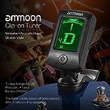 ammoon Clip-On Tuner Gitarre Stimmgerät/Tuner mit großem LCD-Display für Gitarre, Ukulele, C/D Violine, Bass, Geige, Mandoline, Chromatisches Stimmgerät mit Batterie, Automatisch Ausgeschaltet - 7