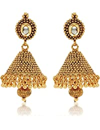 Jewels Galaxy Limited Edition Traditional Gold Plated Marvellous Jhumki Earrings For Women/Girls