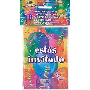 Unique Party Invitaciones para Fiesta, 8 Unidades 27814