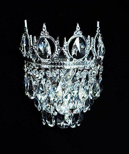 Königliche Kristall Kronleuchter Wandlampen mit kleinen Krönchen aus verschieden Epochen wie Barock, Empire, Art Deco & Jugendstil. Echtes Kristall. Abbildung in Silberfarben.