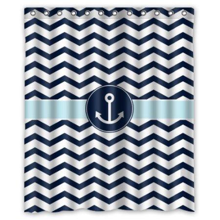 BBFhome Hem Gewichte Vorhang Duschvorhang 168x180 CM Badezimmer Marine Blau und Weiß Chevron mit Wasser Anker Muster Dusche Haken inklusive Polyester