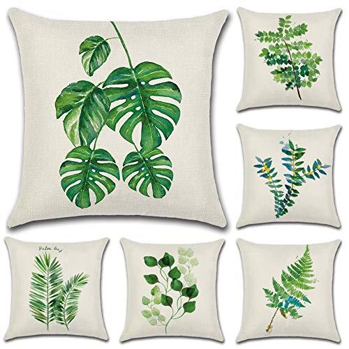 JOTOM Funda de Almohada de Lino de algodón,sofá Funda de cojín del Coche decoración de la Cama en casa 45 x 45 cm, Juego de 6 (Hoja Verde 1)