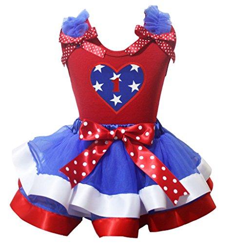 r Herz rot Shirt Dot Schleife Weiß Blau Blütenblatt Rock Set nb-8y Gr. Medium, Red, Blue, White (Patriotische Mädchen Kostüme)