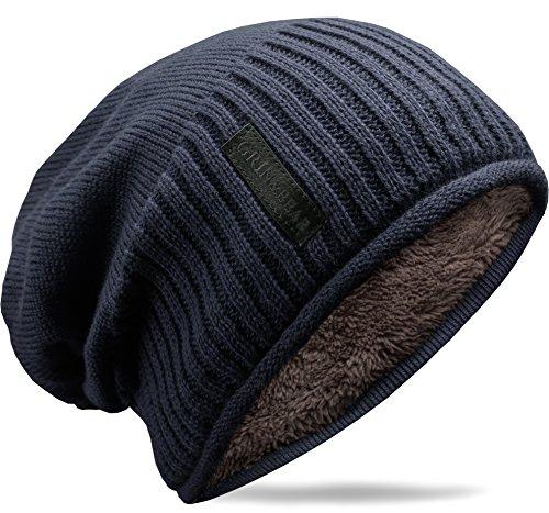 Grin&Bear weiches Unisex Slouch Beanie Mütze in Feinstrick mit warmem Fleece Innenfutter Navy M31