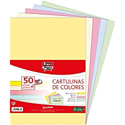 Fixo Paper 00001493 - Paquete de cartulinas de colores A4 - Surtido de colores claros, 50 unidades, 180g