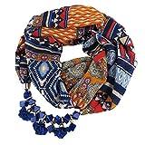 Relddd Lady Schal Damen Print Chiffon Schal Cube Harz Tuch Blume Halskette Anhänger Schal 170x43cm