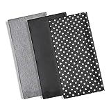 Ideal Textiles Set von 3Geschirrtücher, 100% Baumwolle Küche Geschirrtuch Set, modernes Polka Dot & Streifen Design, saugfähig, Frottee, Waffelpiqué, 3Pack schwarz