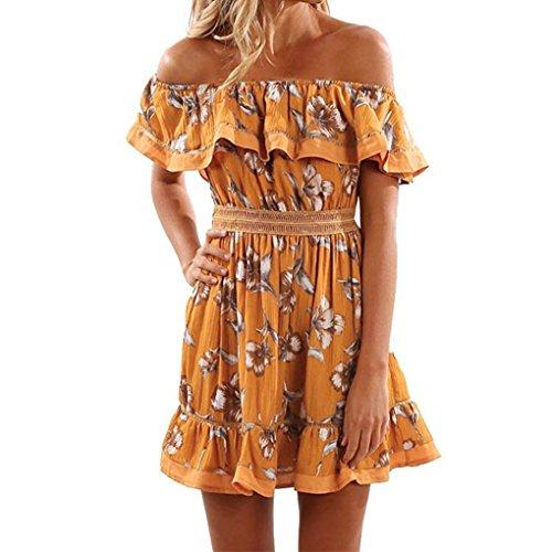 Vestidos Mujer, Magiyard Mujeres fuera de mariposa de hombro vestido drapeado de impresión elegante corto Sundress (XL, Amarillo)