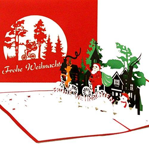 """3D Weihnachtskarte\""""Weihnachtsmann & Rentier\"""" - lustige Pop Up Karte zu Weihnachten als Weihnachtskarten mit Umschlag, Geschenkverpackung & Gutschein"""