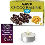 #7: BOGATCHI Diwali Sweet Chocolate Gift Pack for Family, Chocolate Coated Raisins, 100g + Free Diwali Greeting Card + Free Tea Lights