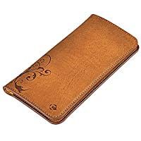 CORNMI Smartphone Pu Leather Case - Handcrafted Leather Wallet Pouch Case (brown)