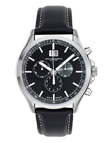 Abeler & Söhne–Made in Germany–Orologio da uomo con cronografo, Vetro Zaffiro e cinturino in pelle as3253
