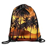 KAKICSA Large Capacity Drawstring Backpack California Palm Trees Waterproof Bunch...