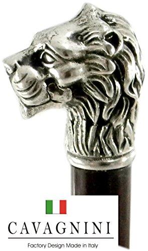 Bastone da passeggio leone maniglia in peltro canna in legno elegante colore argento vintage per uomo e per donna per cerimonia Cavagnini ( incidiamo le tue iniziali) personalizzalo