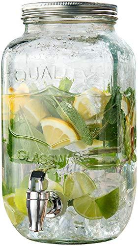 PEARL Wasserspender mit Hahn: Retro-Getränkespender aus Glas, Einmachglas-Look, Zapfhahn, 3,5 Liter (Getraenkespender)