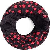 Compagno Sternen Loop Winterschal mit warmem Teddy-Futter Schal Winter Sterne gefüttert Schlauchschal, SCHAL Farbe:Rot