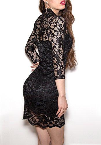 SODACODA Minikleid - Short Lace Dress - Kurzes Spitzen Kleid - 3/4 lange Ärmel und V-Neck Schwarz