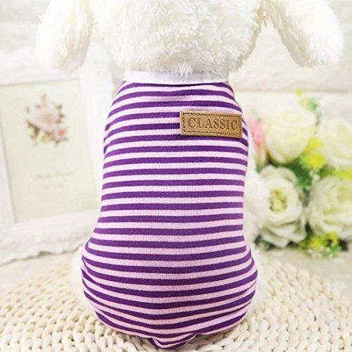Ninasill ღ ღ Pet Hund Hunde/Welpen Classic Weste T-Shirt Kleidung Gestreift Weste Bekleidung Casual X-Small Violett