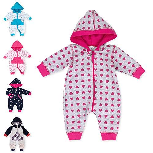 Baby Sweets Babystrampler Mädchen mit Herzen Motiv/Overall mit Kapuze für Neugeborene & Kleinkinder | Größe: 12 Monate (80)