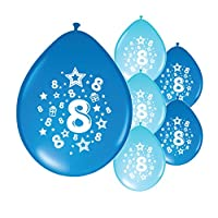 Partyangels 10 x 8th BIRTHDAY BOY/ AGE 8 BOY BLUE AND LIGHT BLUE PACK BIRTHDAY BALLOONS (PA)