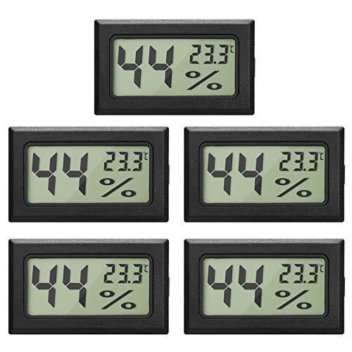 EEEKit 5-Pack LCD Digital Temperatur-Feuchtigkeitsmesser Thermometer, Mini-Digital-Thermometer Hygrometer und Feuchtigkeitsmesser für Gewächshaus/Autos/Home/Office, schwarz