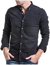 BLZ jeans - Chemise homme en jean noir délavé biker